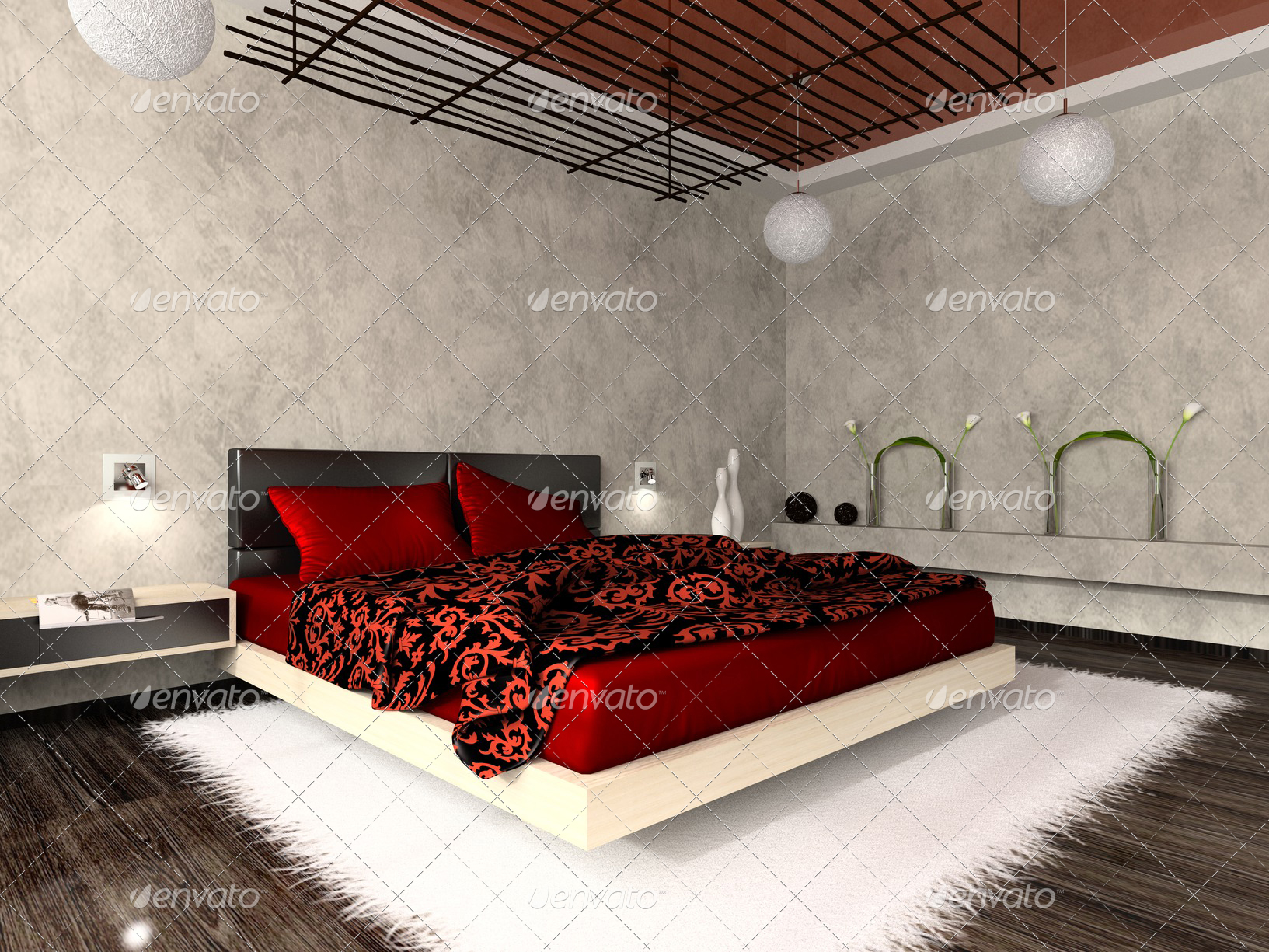 Luxurious interior of bedroom in red colour